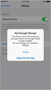 Not enough storage